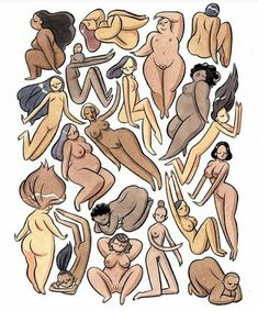 illustration of women of all shapes, colours and sizes. beautiful people, colors, diversity, respect, around the world, feminist art, photo, image, body love