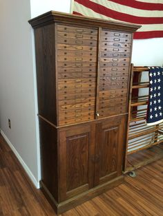 Vintage Oak Filing Cabinet 1930