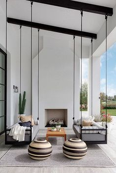 Here is some of my favorite inspiration for outdoor spaces with a modern farmhouse flair. Modern Farmhouse Back Porch - Black Hanging Swings - Modern Outdoor Fireplace - Black and White Back Porch - Home Decor - Home Design - DESIGN: Studio Life/Style California Homes, California Room, California Style, Style At Home, Home Fashion, My Dream Home, Dream Homes, Dream Life, Outdoor Spaces