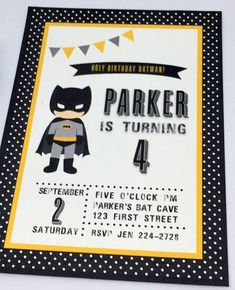 What better way to celebrate your birthday than with Batman! These cute printable Batman invitations will start the festivities off right! Pow! This listing is for printable Batman Birthday Invitations. The PDF file includes 2 invitations measuring approximately 5x7 inches for