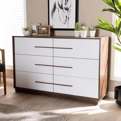 Shop Mid-Century Modern Dresser - On Sale - Overstock - 28560732 Dresser Drawers, Bedroom Design, 6 Drawer Dresser, Modern Dresser, Furniture, Bedroom Decor, Mid Century Modern Wood, Home Decor, Modern Wood