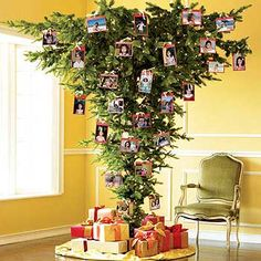 short on floor space this year? just turn that tree and hang it from the ceiling! It even feels more 'forest-y' - like a canopy of trees. #christmas