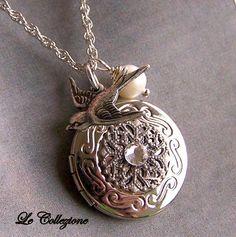 Silver Locket Necklace - Genuine Pearl, Swarovski Crystal and Silver Bird Bird Charm - 2302