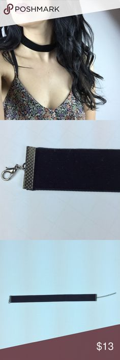 """Black Velvet Thick Choker Trendy black velvet choker! Has a hematite colored metal clasp and adjustable linked chain. The ribbon part is 12.5"""". It's 1"""" thick. Not worn. New. No trades. Jewelry Necklaces"""