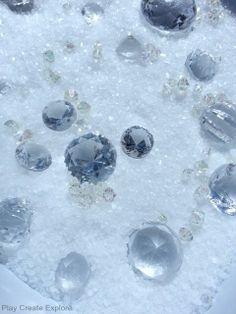 epsom salts and 'gems' sensory bin