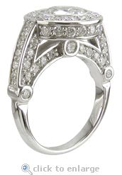 The Diamond Cubic Zirconia 2 Carat Bezel Set Round & Pave CZ Solitaire Engagement Ring In 14K White Gold.