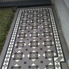 Olde English Tiles – Glasgow pattern with the Norwood border. Edwardian House, Victorian Homes, Geometric Tiles, Entrance Ways, Exterior Colors, Home Renovation, Paths, Tile Floor, Glasgow