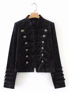 Black Velvet Double Breasted Front Long Sleeve Women Blazer  ca14f2025902
