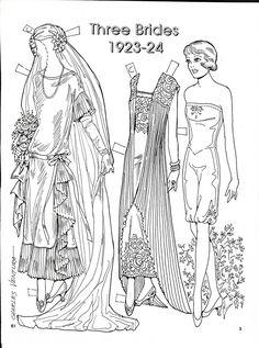 Three Brides Paper Dolls by Charles Ventura - Maria Varga - Picasa Web Albums Colouring Pages, Adult Coloring Pages, Coloring Sheets, Coloring Books, Paper Art, Paper Crafts, Paper Dolls Printable, Picasa Web Albums, Vintage Paper Dolls