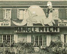 Student-decorated house, featuring a dinosaur, bearing the University of Minnesota 1934 Homecoming theme: Mangle Michigan.