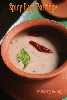 YUMMY TUMMY: Spicy Ragi Porridge Recipe - Ragi Kanji Recipe - Finger Millet Salty Porridge Recipe
