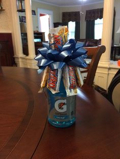 The 'Broquet' I made for my sons 8th Grade Night for Football. His school colors are Blue and White.