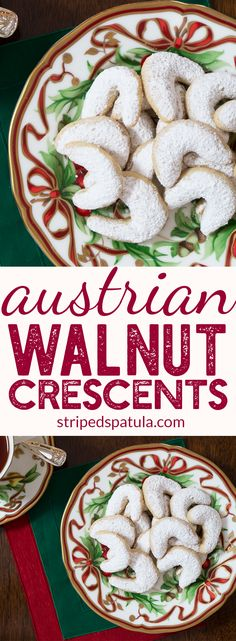 Austrian Walnut Crescents | Walnut Crescent Cookies | Walnut Recipes | Christmas Cookies Recipes | Christmas Cookie Ideas | Walnut Cookies | #christmascookies #cookiesforstanta #cookiesrecipes #bakinglove #stripedspatula
