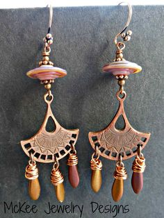 Boho fans. Lampwork, Czech Glass and copper metal earrings. -  - McKee Jewelry Designs - 1