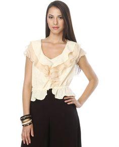 Snickerdoodle Cream Top #cream #neutral #lace #ruffles #neckline #want