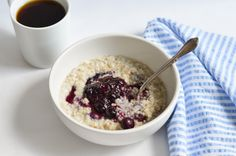 Creamy steel-cut oatmeal with blueberry-basil compote #MeatlessMonday #breakfast