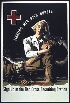 The Red Cross recruited tens of thousands of nurses for the US military during World War II, and this poster makes no distinction between Navy & Army nurses.