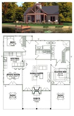 Cottage Style COOL House Plan ID Total Living Area 1375 sq ft 2 bedrooms 2 bathrooms Lake House Plans, Cabin Floor Plans, Best House Plans, Country House Plans, Dream House Plans, Small House Plans, Dream Houses, Retirement House Plans, Retirement Funny