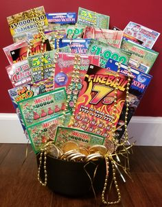 Have lottery tickets, ways to tell fortunes (Ouji, Magic 8 Ball, Tarot), and cookies (especially fortune cookies). Fundraiser Baskets, Raffle Baskets, Lottery Ticket Tree, Raffle Prizes, Raffle Ideas, Gifts For Teen Boys, Themed Gift Baskets, Valentines Gifts For Boyfriend, Auction Baskets
