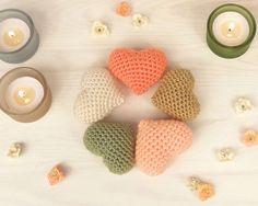 Set of 5 crochet hearts, Valentine's day decor, amigurumi handmade crocheted ornament hearts in pastel colors