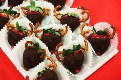 Chocolate dipped strawberry reindeer