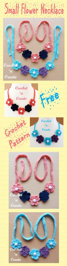 Free crochet pattern for pretty small flower necklace. #crochet
