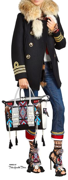 ♔Très Haute Diva♔ Dsquared2 Fall 2015 Twin Peaks Medium Handbag and Eskimo Chic Sandals