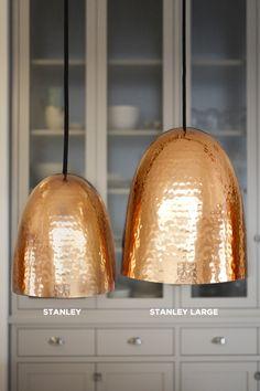 Stanley Hammered Copper Pendant - All For Decoration Copper Pendant Lights, Brass Pendant, Lighting Showroom, Handmade Copper, Hammered Copper, Interior Exterior, Interior Design, Chandelier Lighting, Chandeliers
