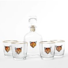 First produced in 1932, this hand-painted glassware is one of our favorite bar cart accessories.  This set features classic fox heads for a rugged,...