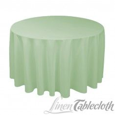 Buy 120 inch round tea green tablecloth for weddings at LinenTablecloth! Seamless and machine washable table linens, these wedding tablecloths are perfect for other special events too. Grey Tablecloths, Wedding Tablecloths, Round Tablecloth, 60 Inch Round Table, Round Tables, Baby Blue Weddings, Sage Green Wedding, Circular Table, Wedding