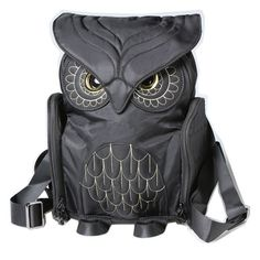 "Love owls? You'll adore this. Roomy pack has a zipper top, fold-over flap with magnetic snap, 2 bottle pockets, 2 side zipper pouches, inner sleeve/divider (holds 11"" laptop), adjustable, padded shoul"