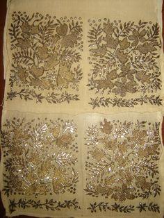 ottoman embroidery | ... ANTIQUE OTTOMAN-TURKISH GOLD METALLIC HAND EMBROIDERY ON LINEN