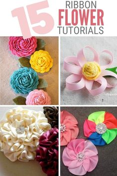 Create Easy Ribbon Flowers to add to sewing projects, headbands, home decor, and more! Click here for the step by step tutorials. #thecraftyblogstalker #ribbonflowers #diyflowers #ribbonflowertutorials