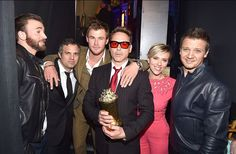 Chris Evans, Mark Ruffalo, Chris Hemsworth, Robert Downey Jr., Scarlett Johansson and Jeremey Renner backstage at the 2015 MTV Movie Awards in Los Angeles, California. | MTV Photo Gallery