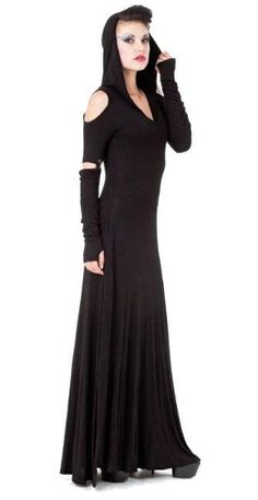 Queen Of Darkness - Long Hooded Maxi Dress w/ Cutout Shoulders