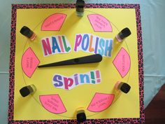 made a nail polish game for daughters 9th birthday sleep over party!  super fun!