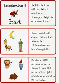 ein Lesedomino   (Die Bilder habe ich zum Teil doppelt genutzt,   damit man den ganzen Text lesen muss.)     LG Gille   Schrift: Grundschri...