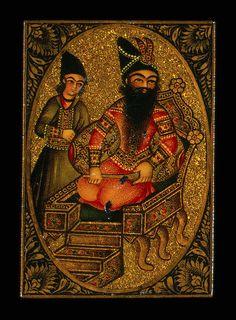 playing cards papier mache fath ali shah & servant 19s