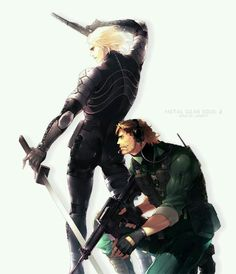 Metal Gear Solid Sons of Liberty - Solid Snake (as Iroquois Pliskin) and Raiden Video Game Art, Video Games, Raiden Metal Gear, Metal Gear Solid Series, Cry Anime, Anime Art, Metal Gear Rising, Kojima Productions, Gear Art