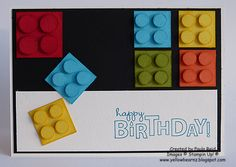 Lego Card - super easy cuts with bright paper and pop dots for dimension!