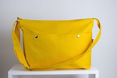 Yellow Messenger Bag Big Pocket Unisex College Bag Crossbody Long  Adjustable Strap Handmade Large Bag Zippered Pocket School Bag College Different Colors are Available Hippirhino *** Click on the image for additional details. #Handmadehandbags