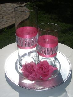 Items similar to Set of 2 Ribbon & Rhinestone Vase Centerpieces for Weddings and Special Events on Etsy Wedding Table, Diy Wedding, Wedding Flowers, Wedding Ideas, Decoration Table, Vases Decor, Wall Vases, Party Centerpieces, Wedding Decorations
