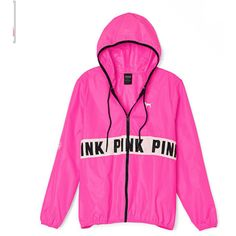 Victoria's Secret PINK Anorak Jacket Full-Zip Windbreaker Med/Lg ❤ liked on Polyvore featuring activewear, activewear jackets and jackets