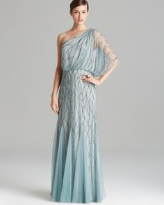 Adrianna Papell Gown - One Shoulder Blouson with Beaded Mesh | Bloomingdale's