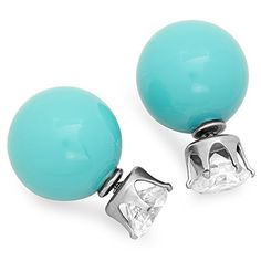 STEELTIME Stylish Double Sided Pearl Earrings (Turquoise) -- Click on the image for additional details.
