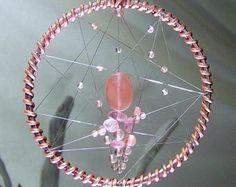 SUR vente cristal Dream Catcher Tenture murale cadeau de Noël pour elle Hamsa main de fatma Protection Dream Catcher de cristal de Quartz cerise cadeau
