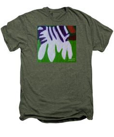 Patrick Francis Premium Moss Heather Designer T-Shirt featuring the painting Zebra 2014 by Patrick Francis