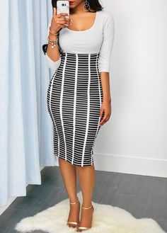 e07130b791f63d High Waist Round Neck Printed Sheath Dress on sale only US 23.97 now