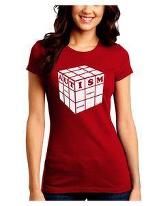 TooLoud Autism Awareness - Cube B & W Juniors Crew Dark T-Shirt