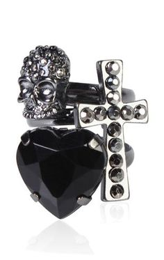3 piece ring set with stone heart, skull, and cross